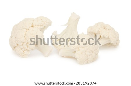 Close-up view of four cauliflower pieces isolated on white background - stock photo