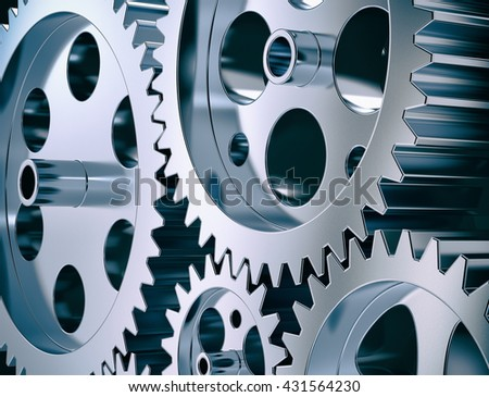 close-up view of gear and steel cogwheels (3d render) - stock photo
