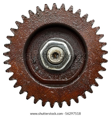 close up view of gear from old mechanism - stock photo
