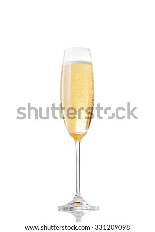 close up view of  glass filled with champagne on whte back