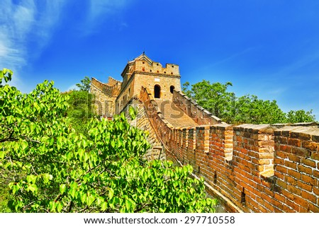 "Close-Up view of Great Wall of China, section ""Mitianyu"". Suburbs of Beijing. - stock photo"