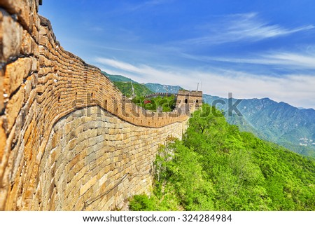 """Close-Up view of Great Wall of China, section """"Mitianyu"""". Suburbs of Beijing. - stock photo"""