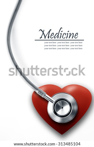 Close up view of grey stethoscope with heart on white back - stock photo