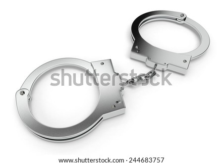 close-up view of handcuffs on white background (3d render)