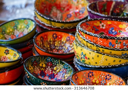 Close-up view of handmade colorful Turkish ceramic plates - stock photo