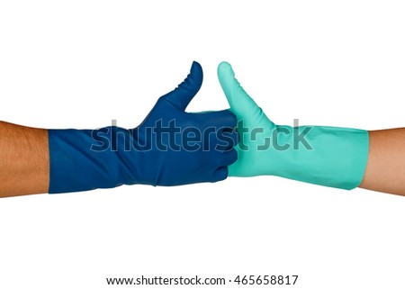 Close up view of hands with rubber glove handshaking, ok or approve sign with thumbs up, isolated on white background.