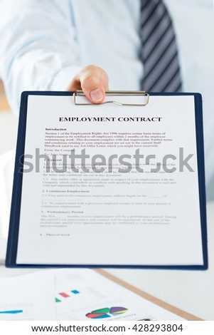 Close up view of human resources manager offering employment contract to candidate. New job, collaboration and new opportunities concept - stock photo