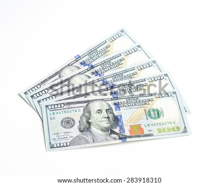Close-up view of hundred dollars banknote on white background - stock photo