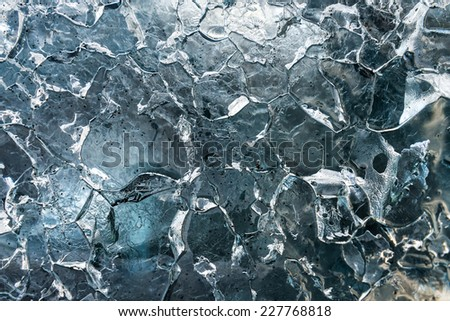 Close-up view of ice texture on iceberg. - stock photo