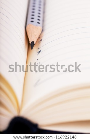 Close up view of lead pencil in organizer - stock photo
