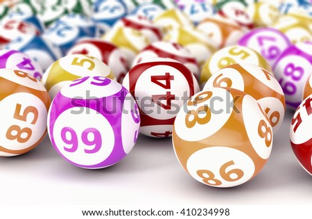 close up view of lotto or bingo balls (3d render)