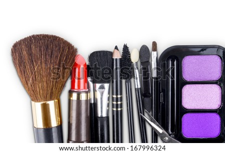Close up view of make up objects on white back - stock photo