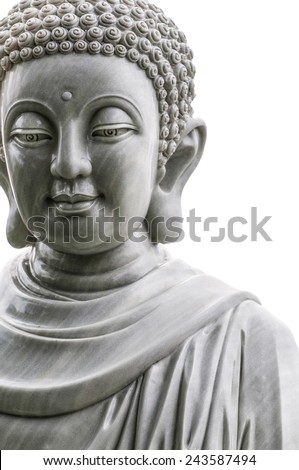 Close-up view of marble Buddha statue isolated on white background. Head and shoulders of religious stone sculpture. Art and culture of Asia. Religion and symbols of East. - stock photo