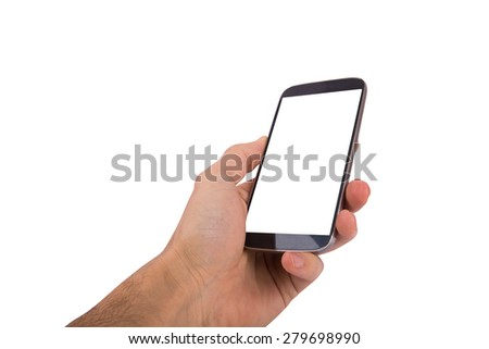 Close up view of mobile phone holding in hand with blank white screen, isolated on white background. - stock photo