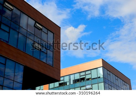 Close up view of modern small office buildings. - stock photo