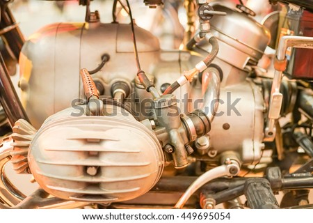 Close up view of Motorcycle engine block, Motor and Transportation Background Concept - stock photo