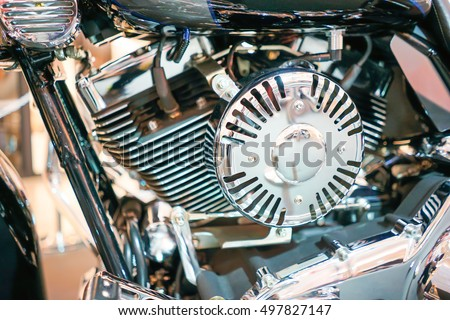 Close up view of Motorcycle engine block, Motor engine and Transportation Background Concept
