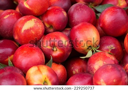 Close up view of nectarine on the market