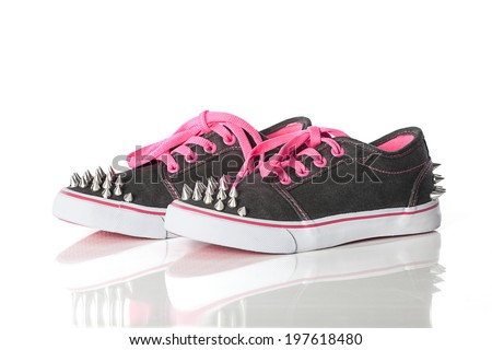 close-up view of new fashion shoes with studs - stock photo
