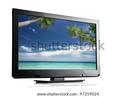 close up view of nice black tv on white back - stock photo