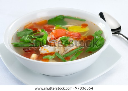 close up view of nice delicious Thai soup  on white back