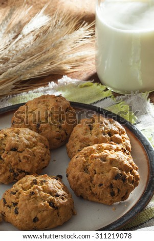 close up view of nice homemade cookies with milk  - stock photo