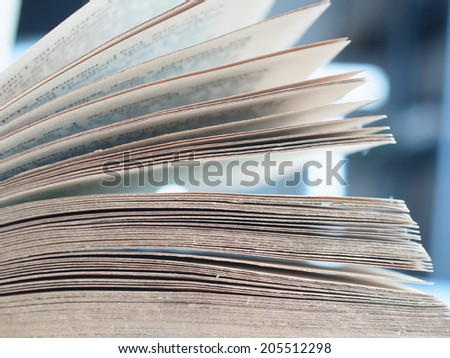 Close up view of open book pages