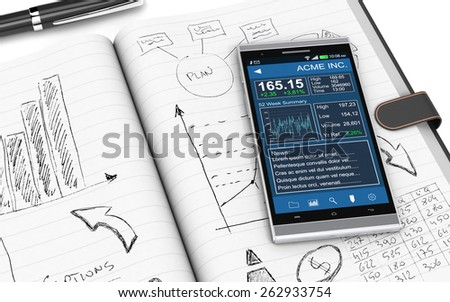 close up view of paper notebook with hand drawn doodles of a business plan, a smartphone with a financial app and a pen on background (3d render) - stock photo