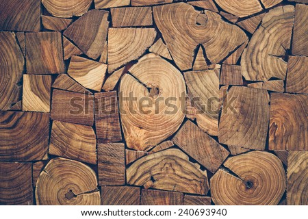 close up view of pieces of teak wood stump background - stock photo