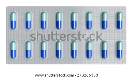 close-up view of pills, concept of medicine (3d render) - stock photo