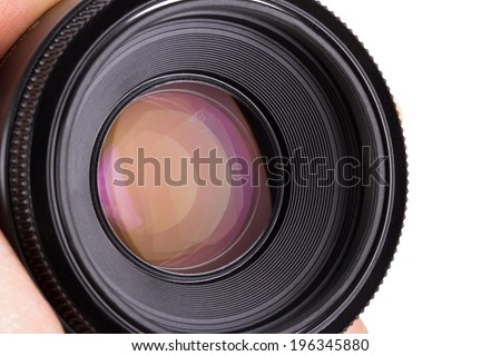 Close up view of professional photograph camera lens, isolated on white background.