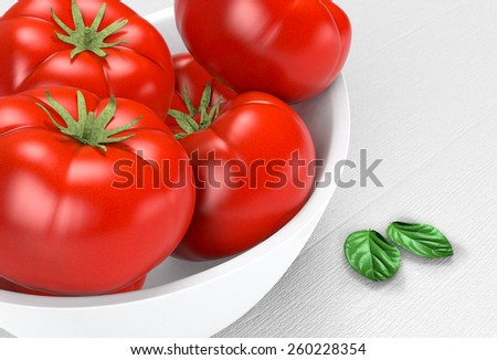 close up view of red tomatoes on a bowl and basil leaves (3d render) - stock photo