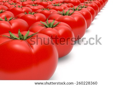 close up view of rows of tomatoes on white background (3d render) - stock photo