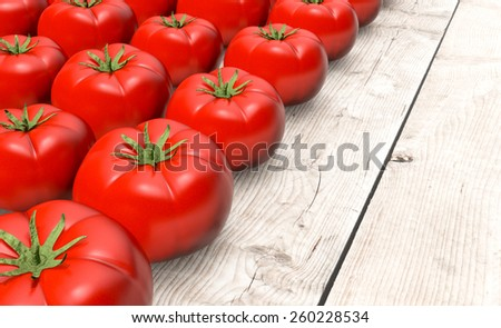 close up view of rows of tomatoes on wooden background (3d render) - stock photo