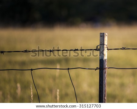 Close Up View Of Rustic Weathered Barb Wire Fence With Autumn Field Background