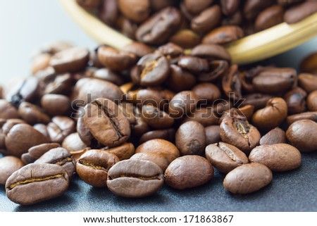 Close up view of same coffee beans