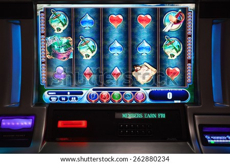 close up view of slot machine in las vegas casino - stock photo