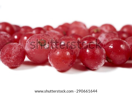 Close-up view of some frozen currants on a white background with copy space on the upper and lower side - stock photo
