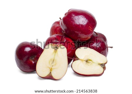 Close up view of some red apples isolated on a white background. - stock photo