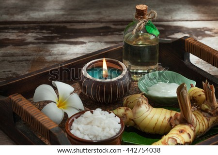 close up view of spa theme objects on color back - stock photo