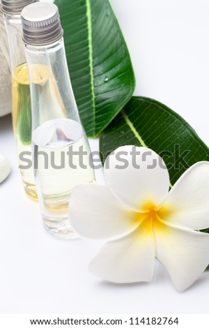 Close up view of spa theme objects on white background - stock photo