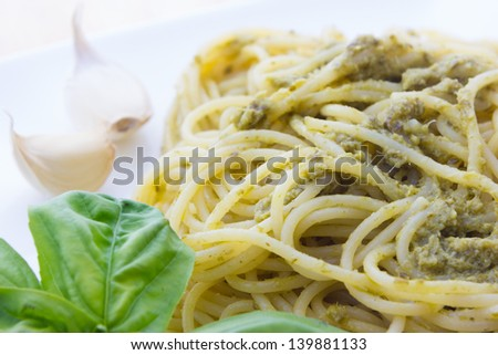 Close up view of Spaghetti with pesto Genovese