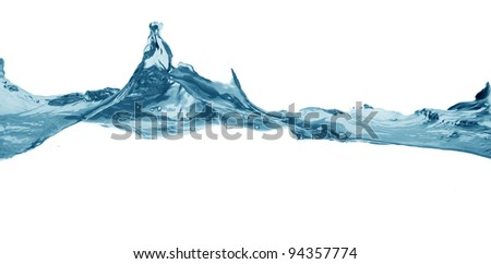 close up view of splashed water surface on white back to be cut out - stock photo