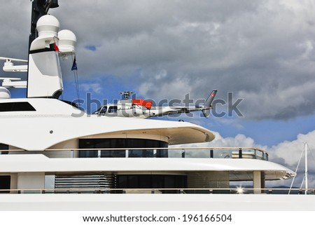 close up view of stunning luxury yacht moored at the Cairns pier - stock photo