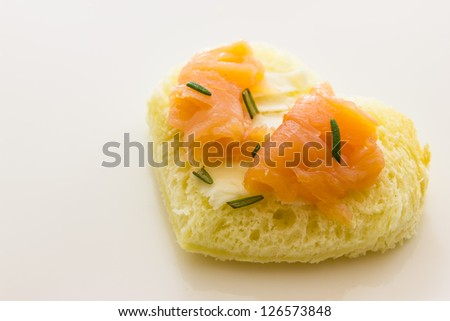 Close up view of  tarts with smoked salmon - stock photo