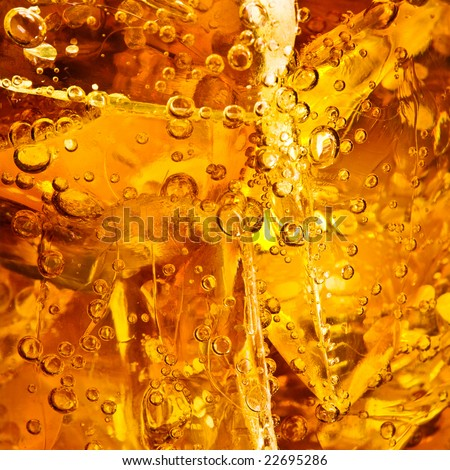 Close up view of the cola in glass - stock photo