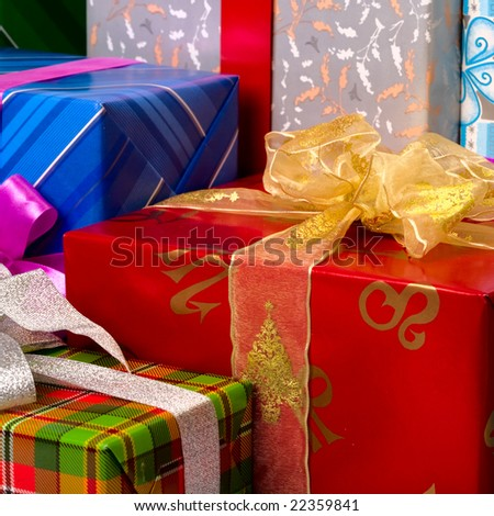 Close up view of the gifts box background - stock photo