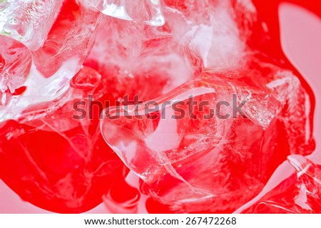 Close up view of the ice in soft drink background  - stock photo