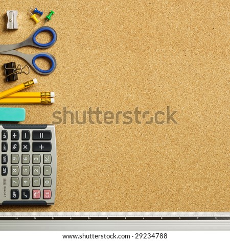 Close up view of the office tools on cork board - stock photo
