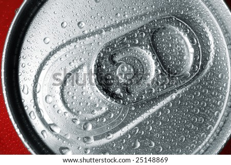 Close-up view of the top of a canned drink with condensation. - stock photo